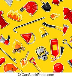 Seamless pattern with firefighting stickers. Fire protection...