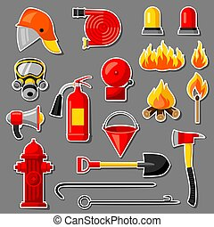 Set of firefighting stickers. Fire protection equipment.