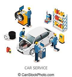 Isometric Car Repair Center Concept