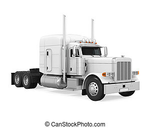 White Trailer Truck Isolated