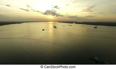 Aerial footage of Volga river - Flying over Volga river at...