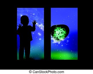 Space and the child looking out the window