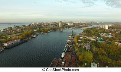 Aerial footage of Samara city docks