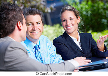 business people - Business people meeting in the downtown...
