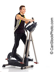 Smiling mature strong man working out. Isolated over white...