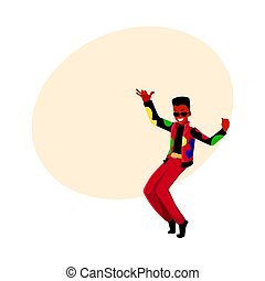 Black, African man, guy in 1980s style clothes dancing disco...