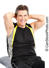 Work out - Smiling mature strong man working out Isolated...