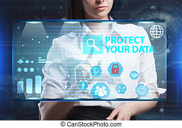 The concept of business, technology, the Internet and the network. A young entrepreneur working on a virtual screen of the future and sees the inscription: Protect your data