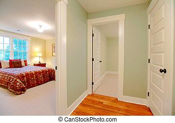 Hallway near master bedroom - green hallway
