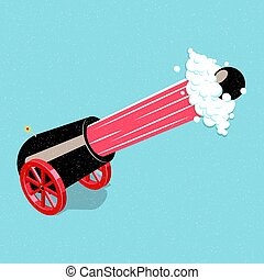 Shooting cannon. - Shooting cannon on wheels. Isometric...