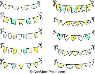 Blue and yellow fresh summer buntings with black outline isolated on white background