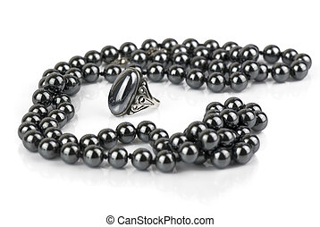 beads and a ring made of hematite - glossy black beads and a...
