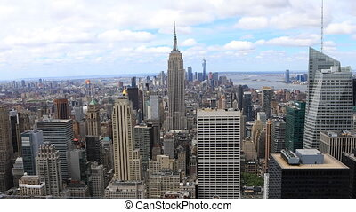 Aerial timelapse of midtown Manhattan, New York area - An...