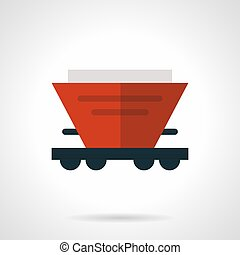 Red hopper wagon flat vector icon - Abstract symbol of red...