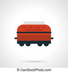 Red refrigerated rail car flat vector icon - Abstract symbol...
