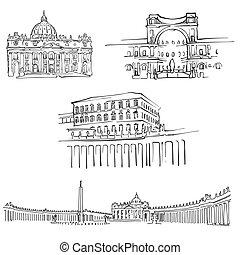 Vatican Famous Buildings, Monochrome Outlined Travel...