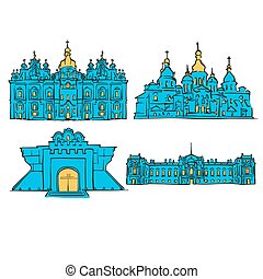 Kyiv, Ukraine, Colored Landmarks, Scalable Vector Monuments....