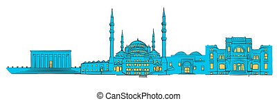 Ankara, Turkey, Colored Panorama, Filled with Blue Shape and...