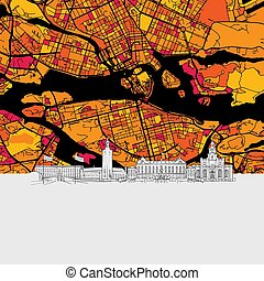 Stockholm Skyline Map, Modern Colourful Art Print with...