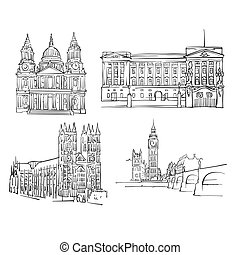 London Famous Buildings, Monochrome Outlined Travel...