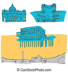 Vatican Colored Landmarks, Scalable Vector Monuments. Filled...