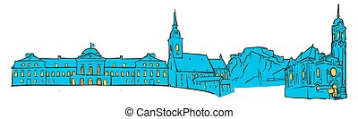 Bratislava, Slovakia, Colored Panorama, Filled with Blue...
