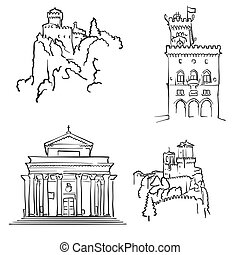 San Marino Famous Buildings, Monochrome Outlined Travel...