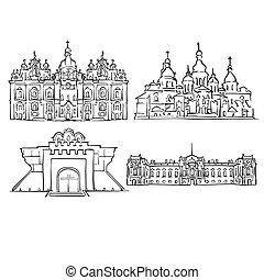 Kyiv, Ukraine, Famous Buildings, Monochrome Outlined Travel...