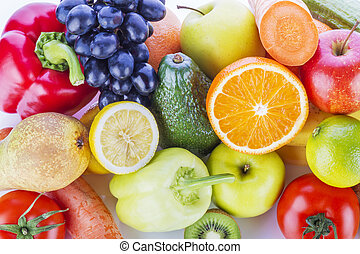Assortment of exotic fruits and vegetables