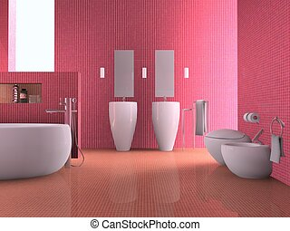 Bathroom - 3d rendering of the modern bathroom interior