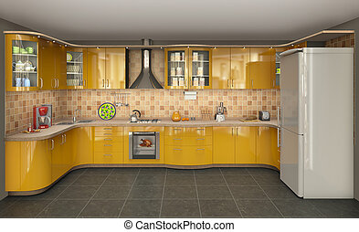 big bright kitchen with oven and refrigerator, 3d...