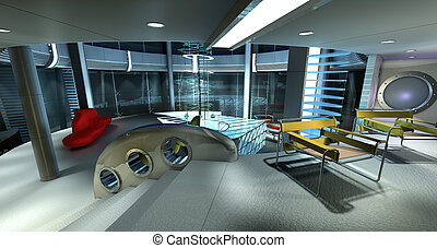 Modern room - 3d computer serves in perspective