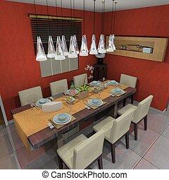 Rendering restaurant - 3D rendering