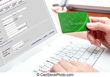 online shopping - Woman hands, white laptop, credit card,...