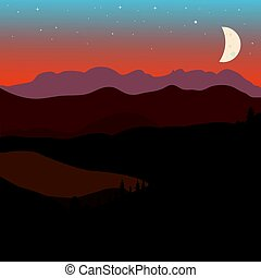 Vector landscape with brown and green mountain hills and...