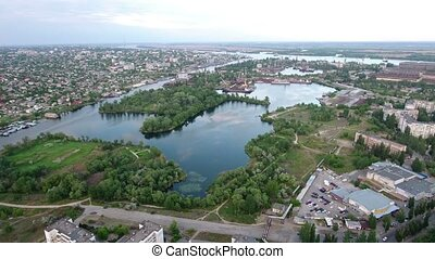 Aerial shot of picturesque hydropark in Kherson region in a...