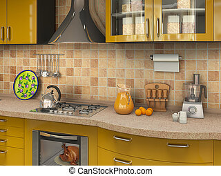 kitchen with many things, 3d illustration