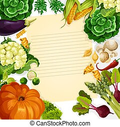 Vegetables havest vector recipe template - Cooking recipe...