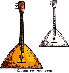 Vector sketch balalaika guitar musical instrument -...