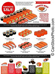 Sushi bar vector menu template of Japanese cuisine -...