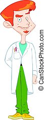 Young scientist in white apron