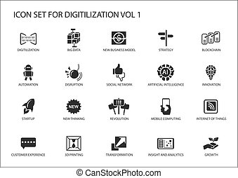 Digitilization vector icons for topics like big data,...