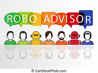 Robo-advisor concept as vector illustration with colorful...