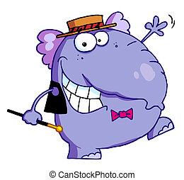 Happy Purple Elephant In Show Biz, Dancing A Jig While...