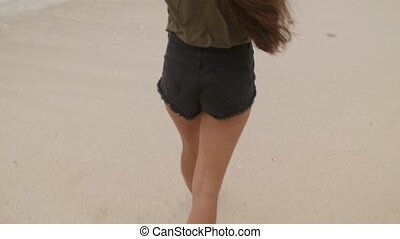 Beautiful girl with long hair walking along the shore of...