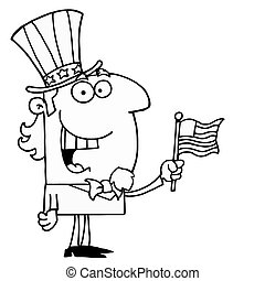 Outlined Cheery Uncle Sam