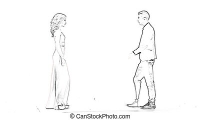 animation of elegant couple dancing on white