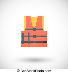 Life jacket vector flat icon, Flat design of swimming safety...