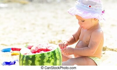 Baby with watermelon
