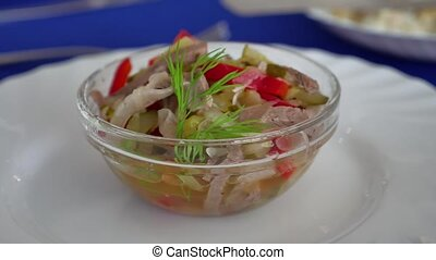 Salad of cucumber beef meat and pepper snack - Salad of...